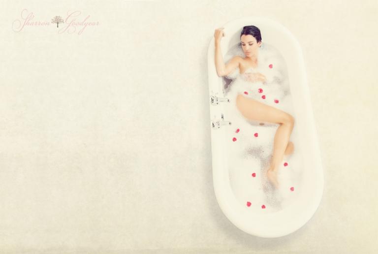 Fine-art-boudoir-photography-London-Kent Surrey and Sussex girl-in-rose-petal-bath